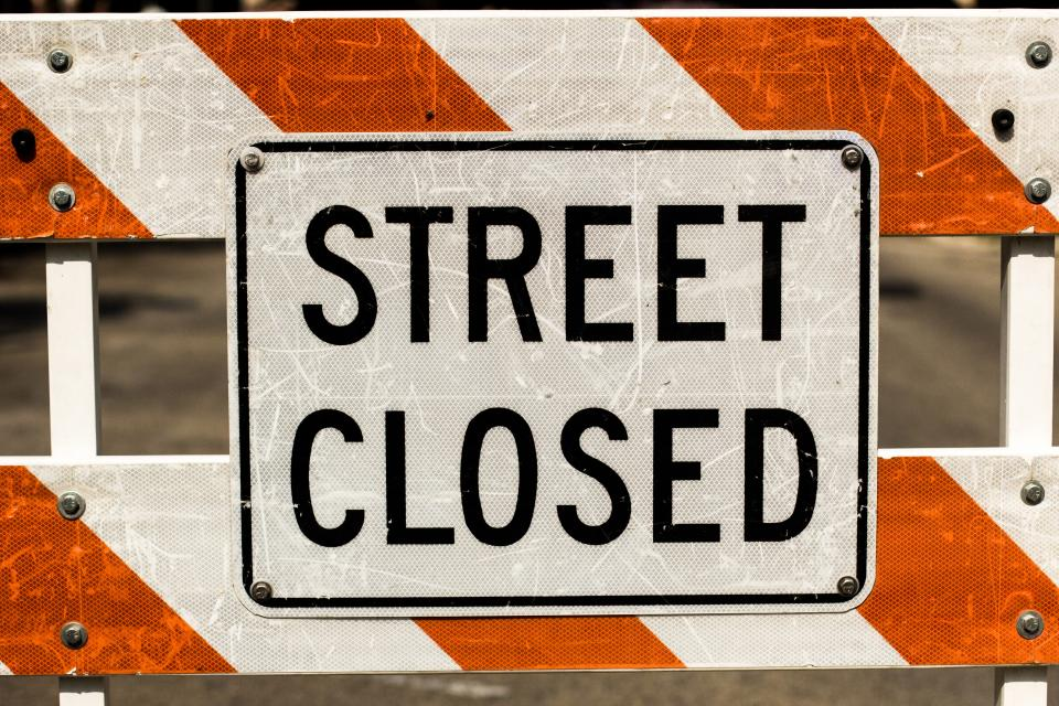 street closed construction sign