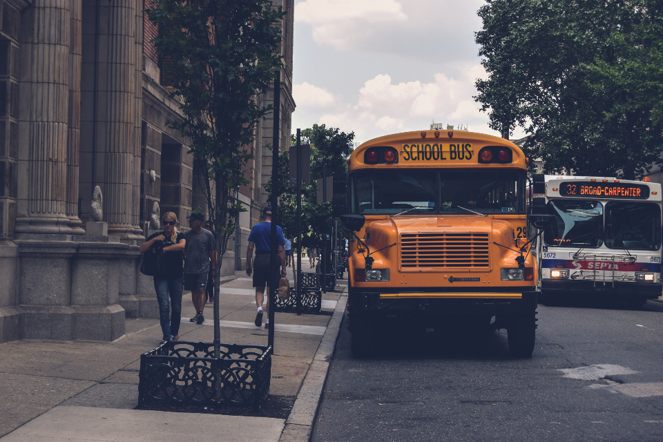 philadelphia travel school bus yellow bus people city road transport