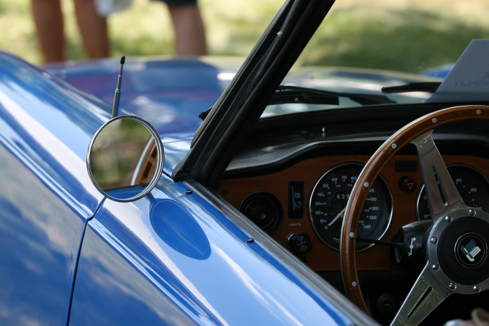 car dashboard interior steering wheel gauges automotive automobile classic retro vintage rpm auto transportation driving sports car mirror blue
