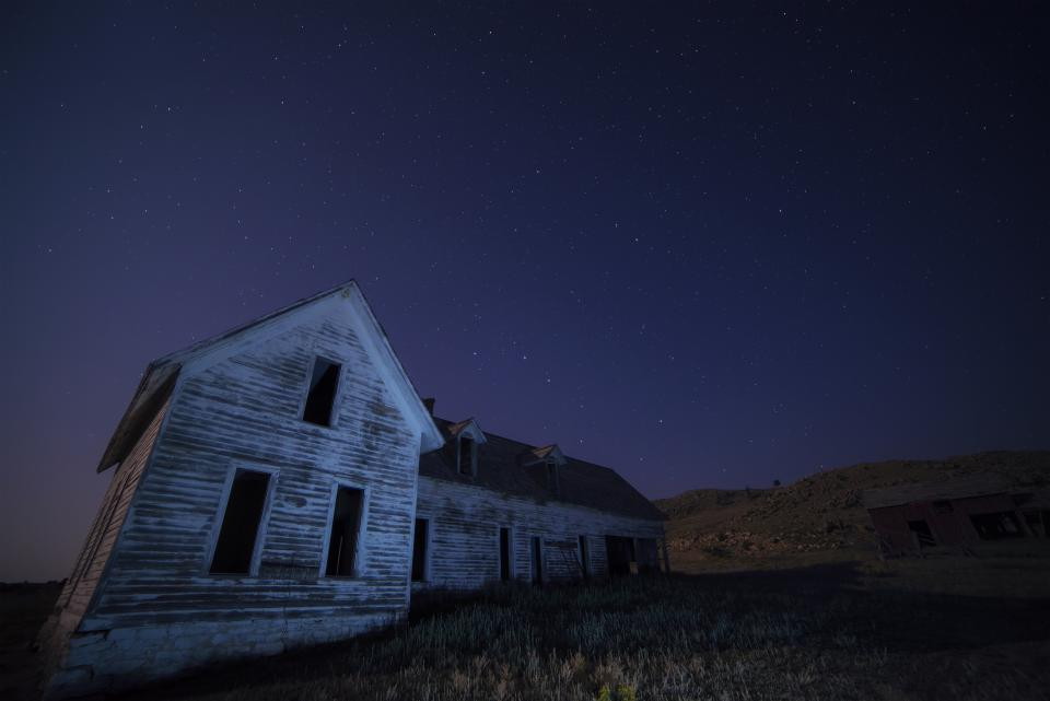 house barn rural countryside field night evening sky stars nature