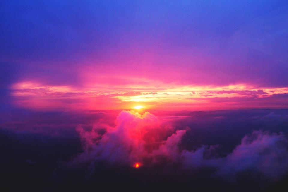 sunset dusk sky purple pink clouds aerial view nature