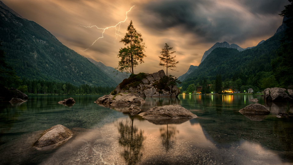trees landscape lake reflection thunderstorm lightning mountains alps hintersee bavaria germany