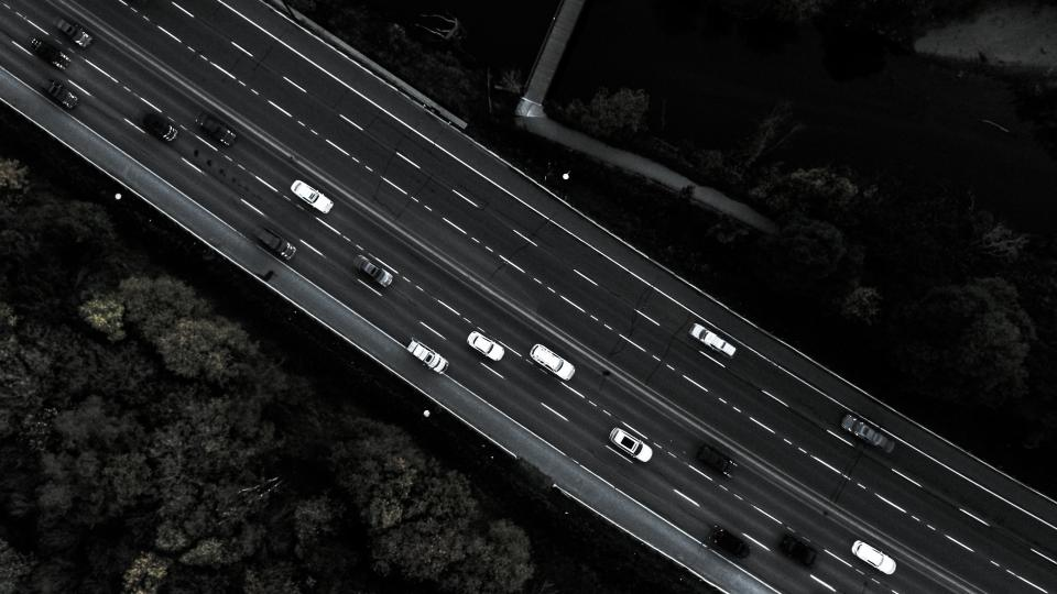 black and white aerial view road trip street car travel transportation tree plant nature