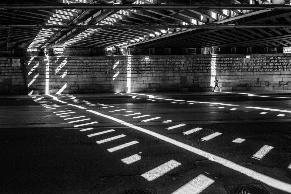 black and white road bridge street wall sunlight people man architecture