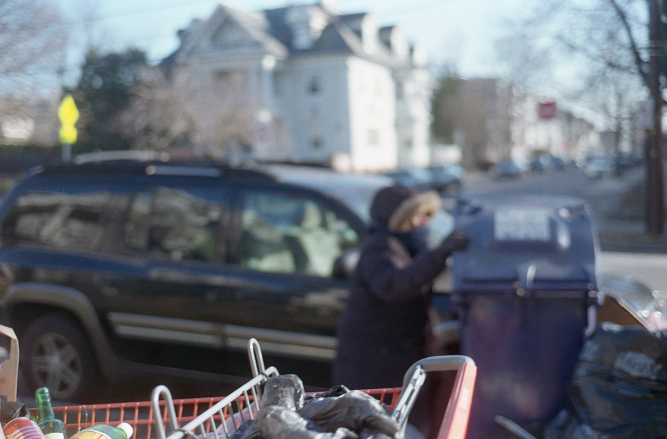 homeless city person cart trash cold despair people begger adult alone urban car