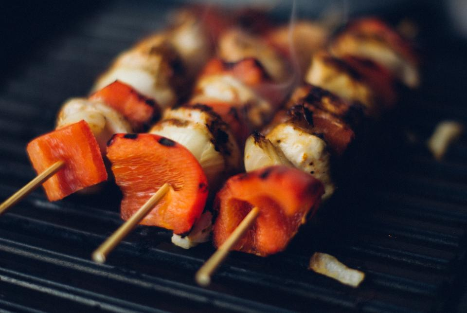 kabob skewers meat red peppers vegetables barbecue bbq grill dinner