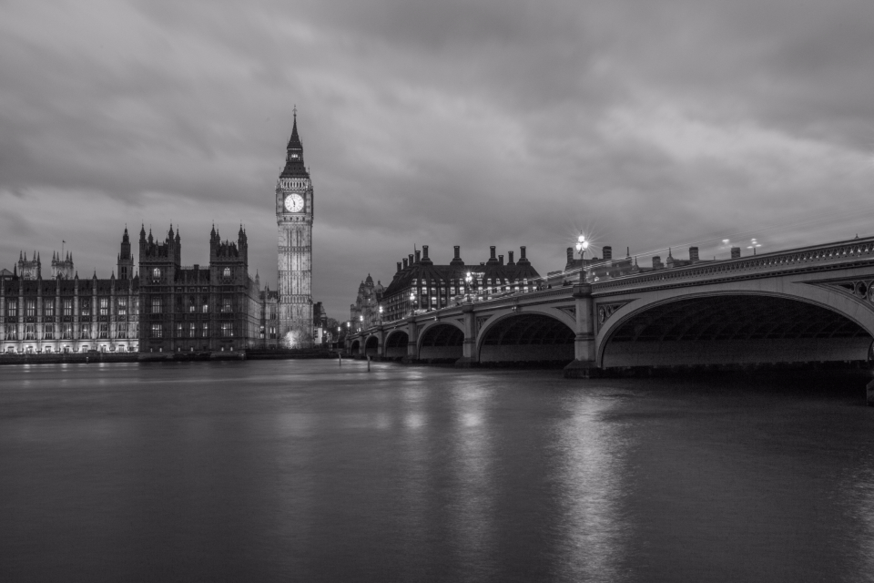 big ben night black white london england uk clouds bridge