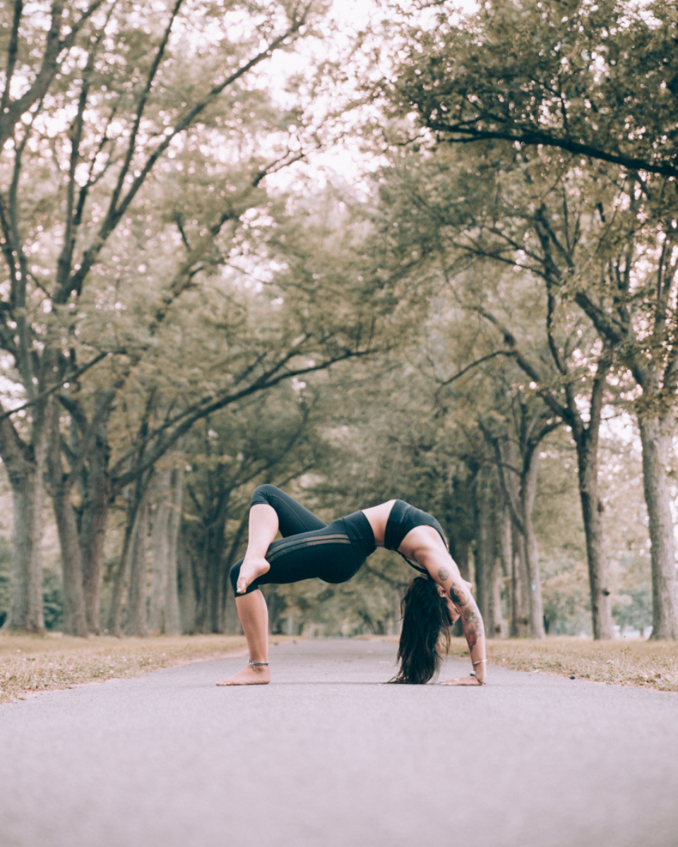 woman yoga trees lady female person stretch exercise fit fitness healthy lifestyle meditation namaste energy path outdoors nature balance serene tranquil