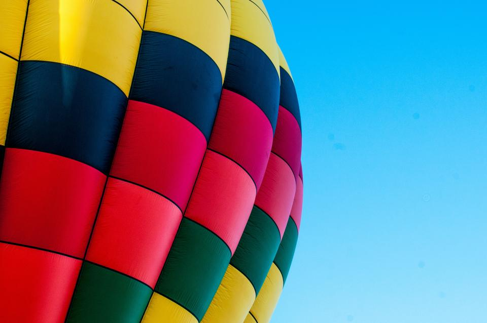 hot air balloon blue sky travel transportation colors colours