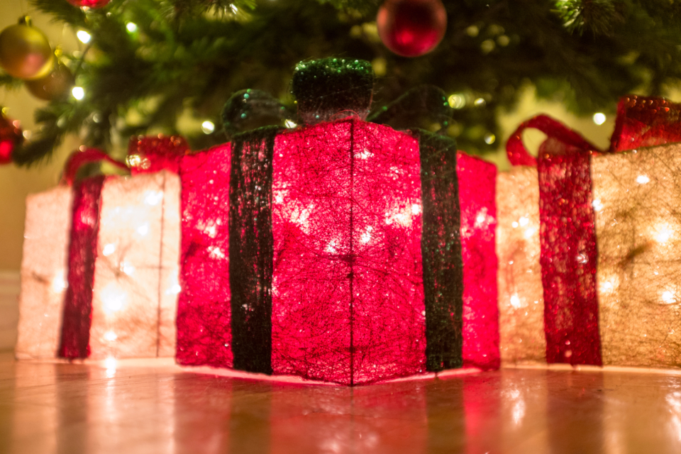 christmas parcel light tree jolly present seasonal festive glow bauble