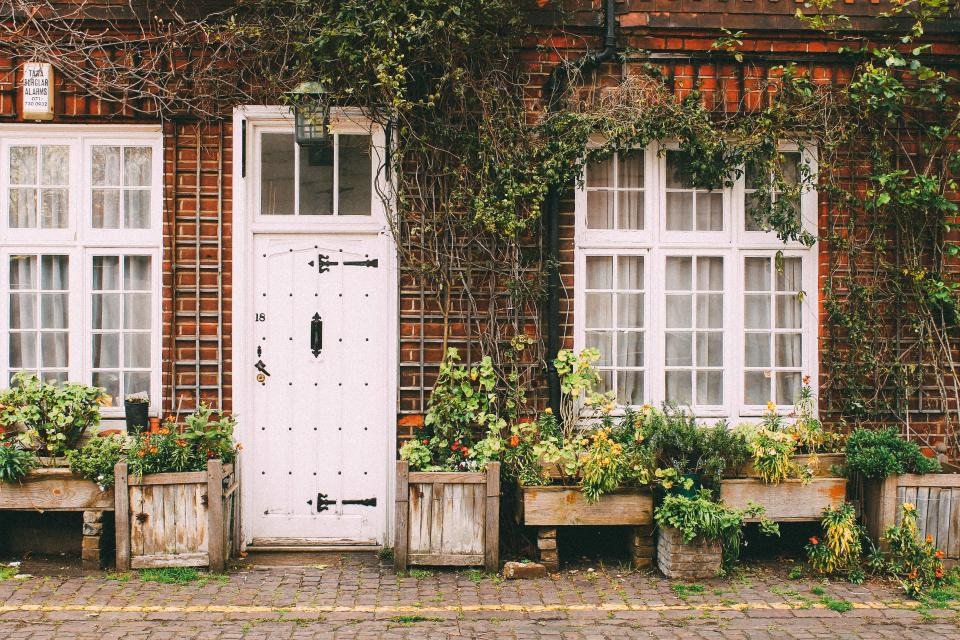 house home door sidewalk cobblestone bricks vines plants city