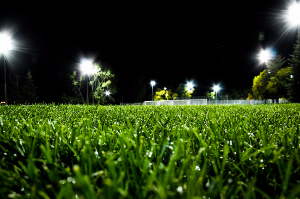 field soccer football sports grass terrain athletes stadium night