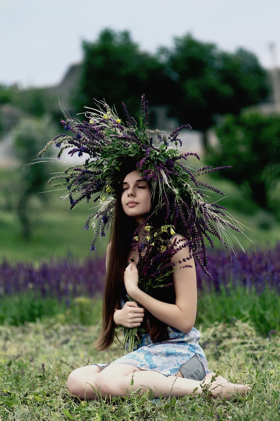 nature grass plants flowers violet purple people woman girl lady green