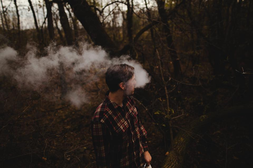 trees plant nature forest wood people man smoking smoke cigarette dark