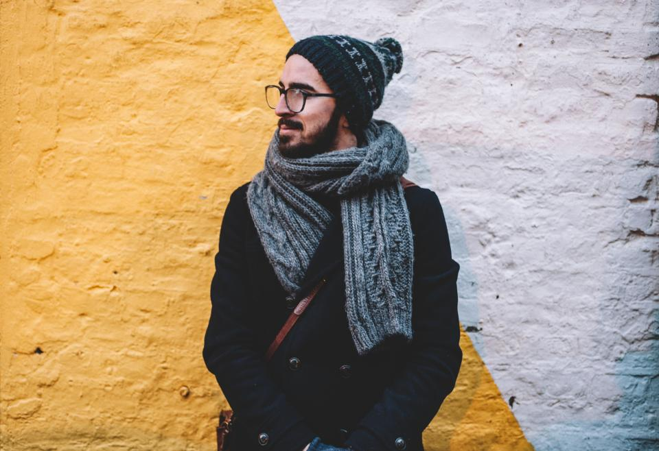 beanie scarf jacket cold eyeglass clothing fashion bag wall beard man people male guy