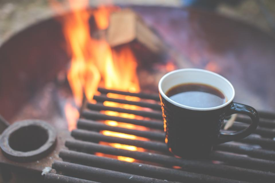 coffee mug cup grill bonfire fire flames camping outdoors