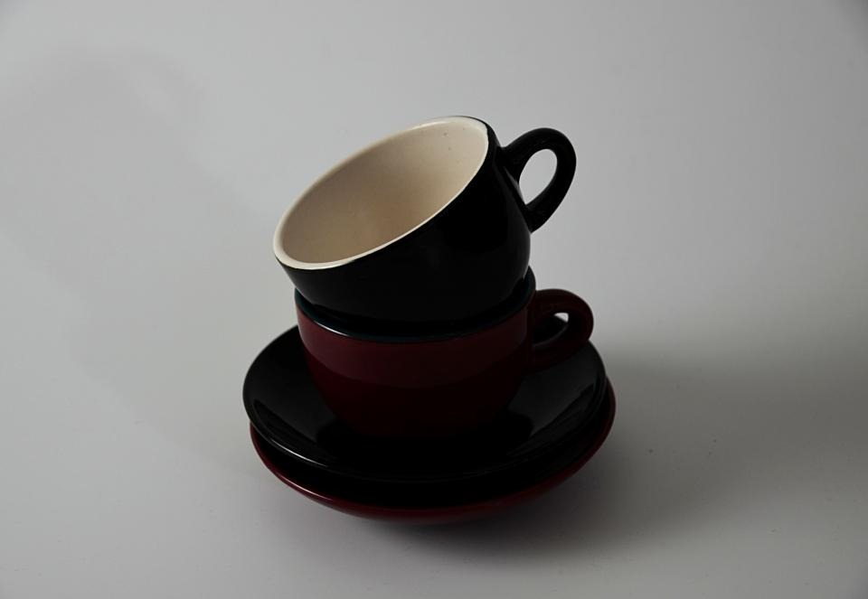 ceramic cup red white black kitchen utensil saucer