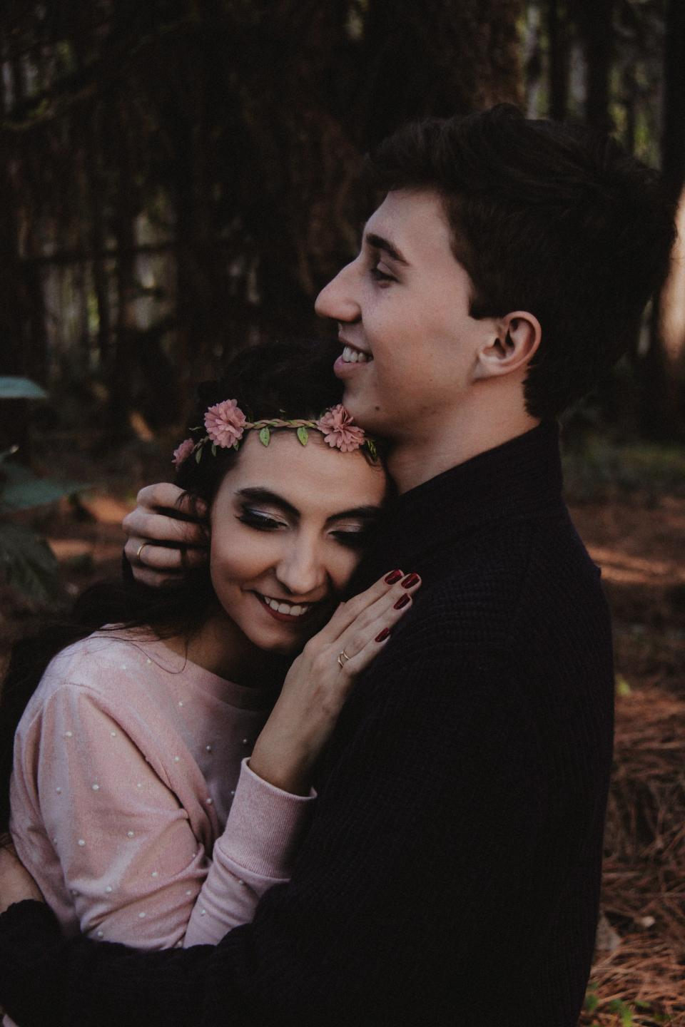 man woman girl guy couple people sweet love hug fashion model smile happy flowers bokeh nature blur