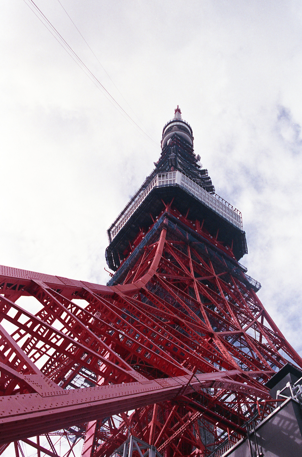 tower perspective view metal steel structure beams design architecture tall red landmark attraction city exterior
