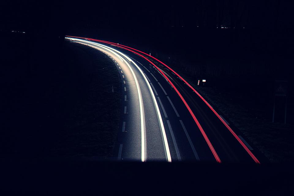 long exposure car transportation photography dark night city urban lights highway road