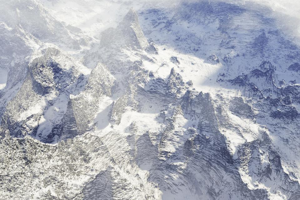 mountains peaks snow cold winter outdoors nature cliffs rocks