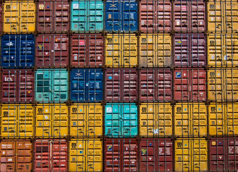 colorful container van cargo wharf travel
