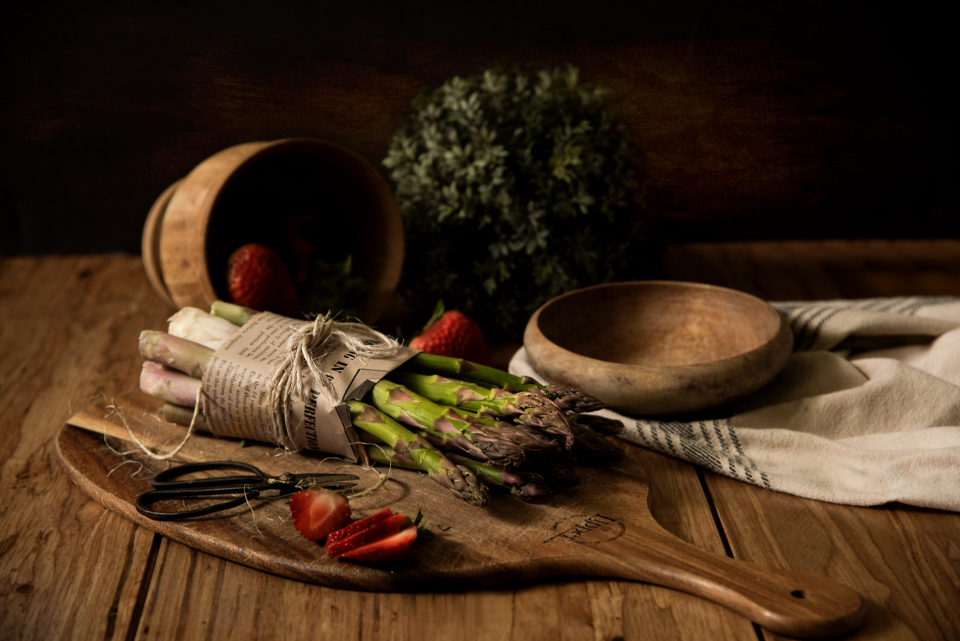 rustic vegetables ingredients food fresh wooden spoon chopping board table kitchen cook chef herbs chilli