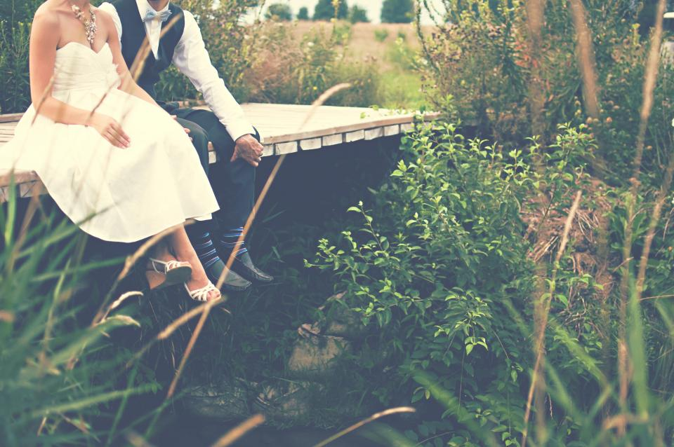 bride groom marriage couple love romance man woman people wedding nature countryside rural summer family