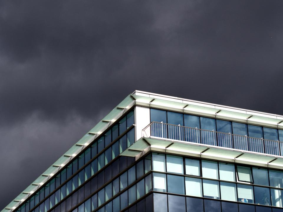 building windows architecture balcony sky storm clouds cloudy grey