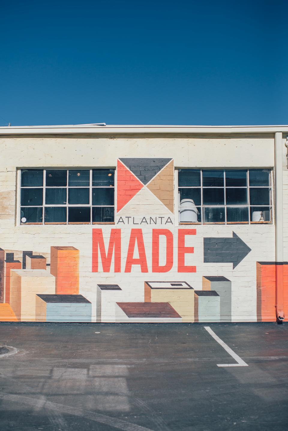 atlanta made store mural design wall building city windows floor