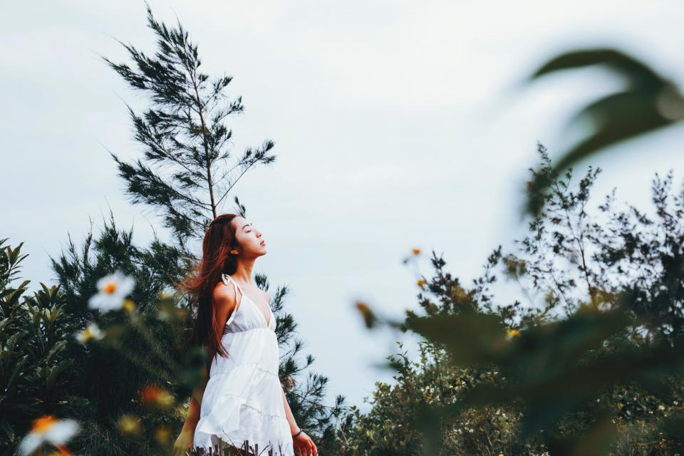 people girl alone green trees flower plant nature fashion beauty sky asian