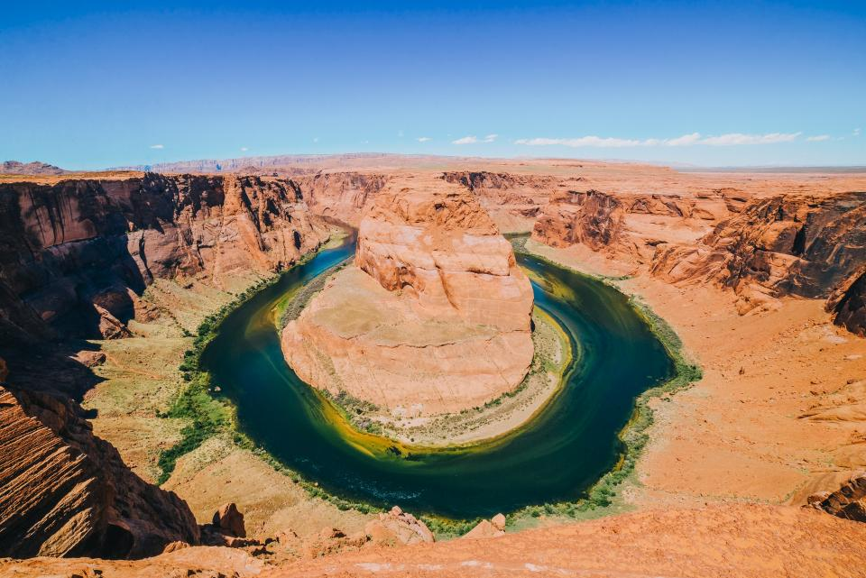 horseshoe bend river water landscape view nature blue sky