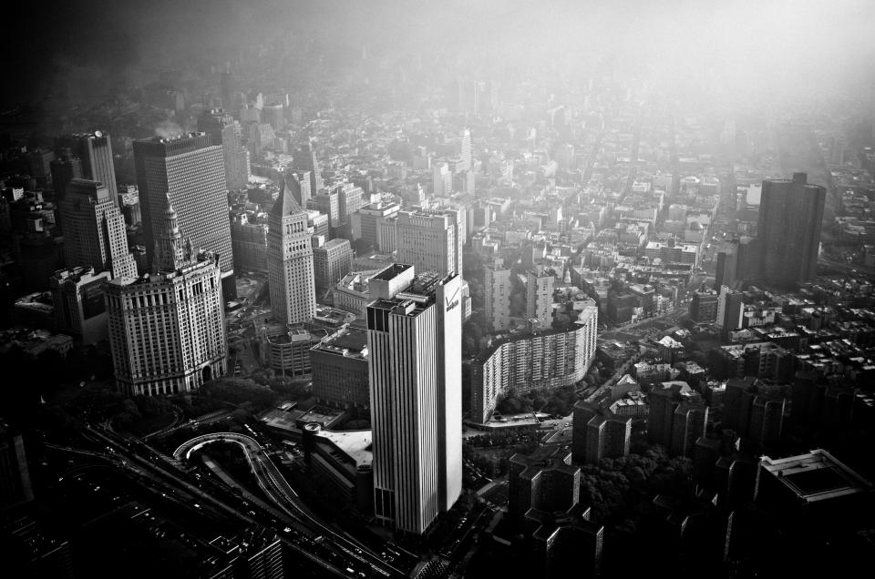 architecture buildings office residential city high rise urban metro fog black and white