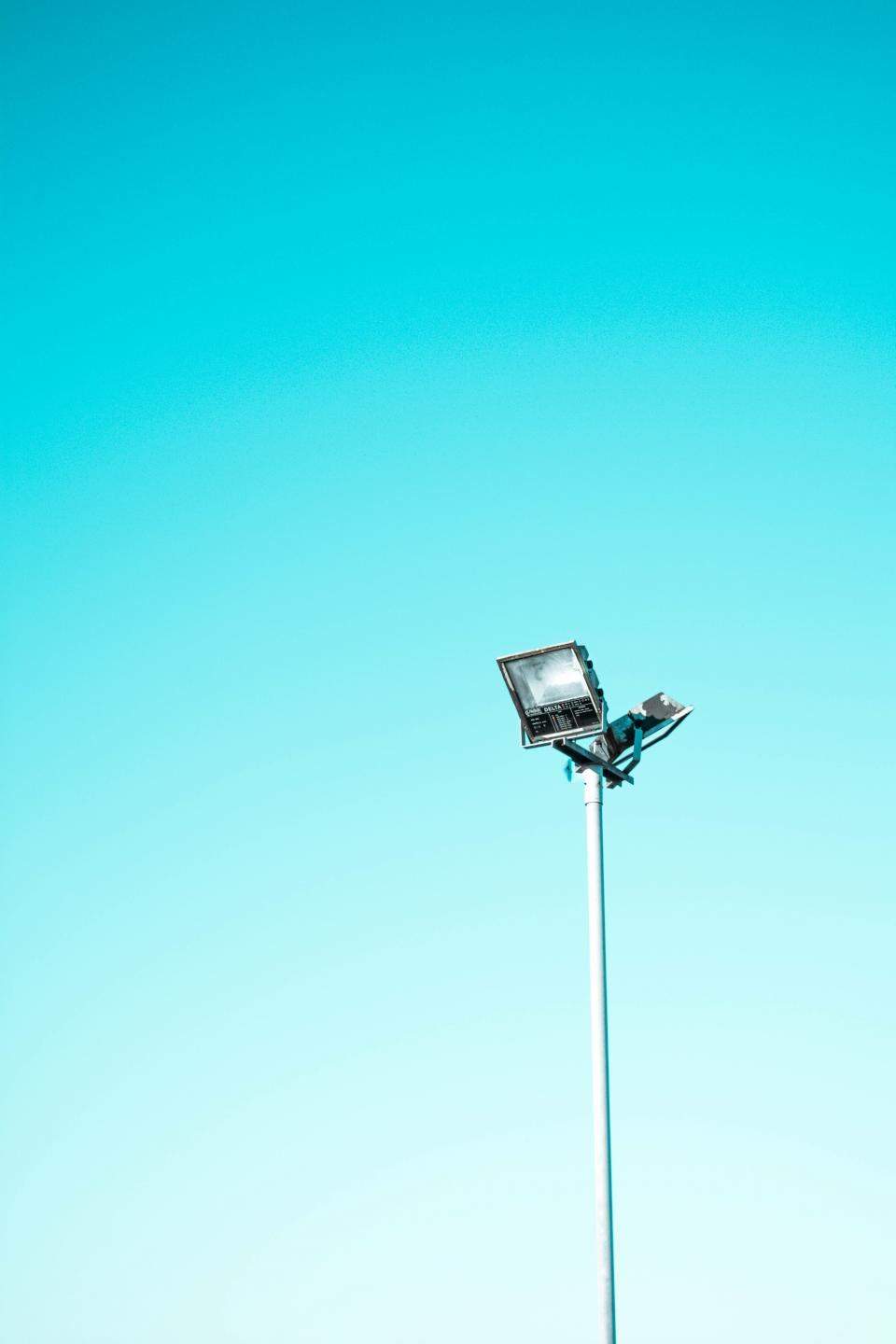 sky blue post light steel spotlight