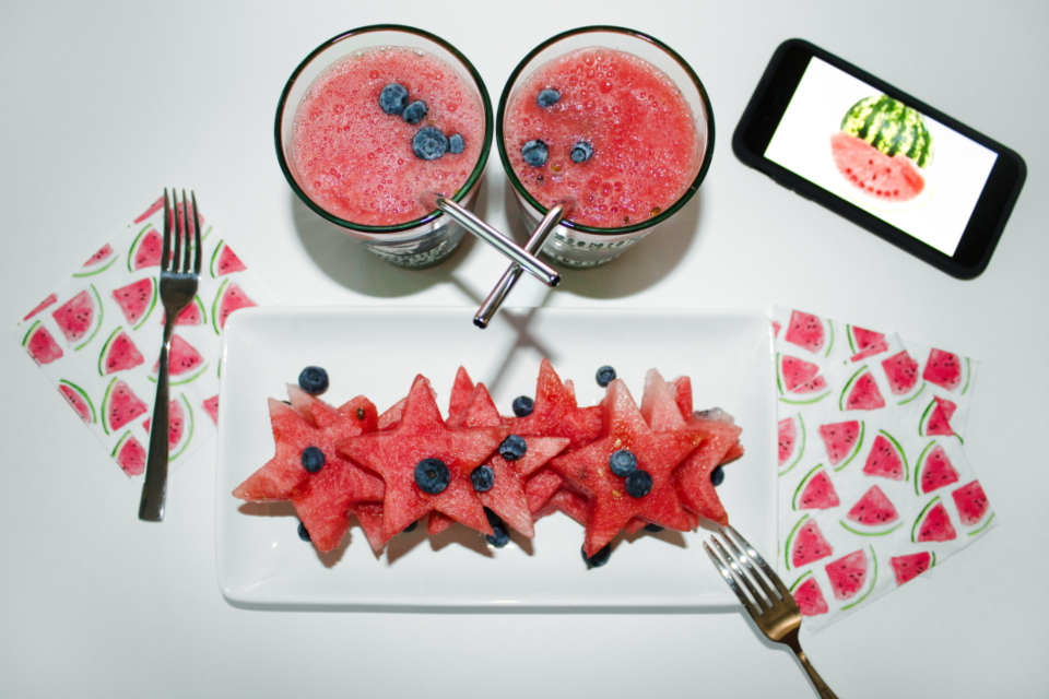 watermelon slices drink iphone mobile device smoothie table plate blueberry blackberry
