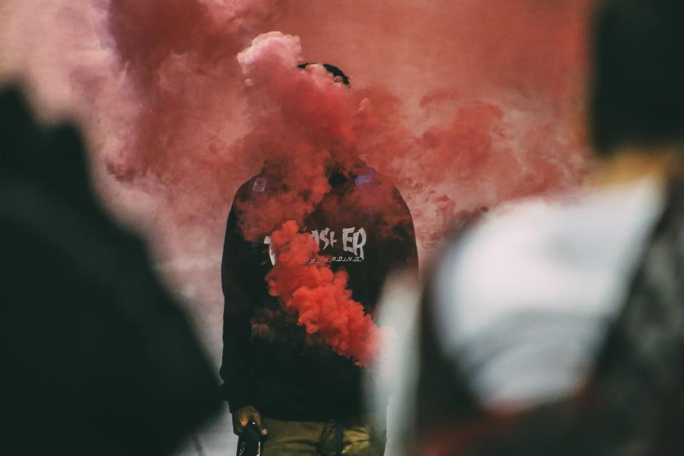 people man smoke red bomb art design photography