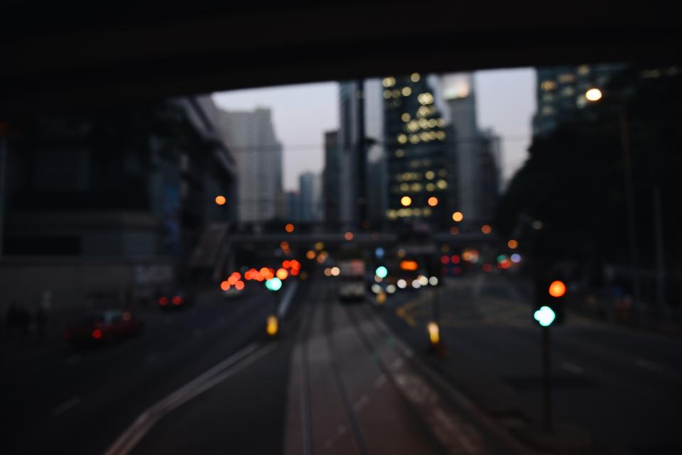 architecture buildings infrastructure light bokeh city blur road street