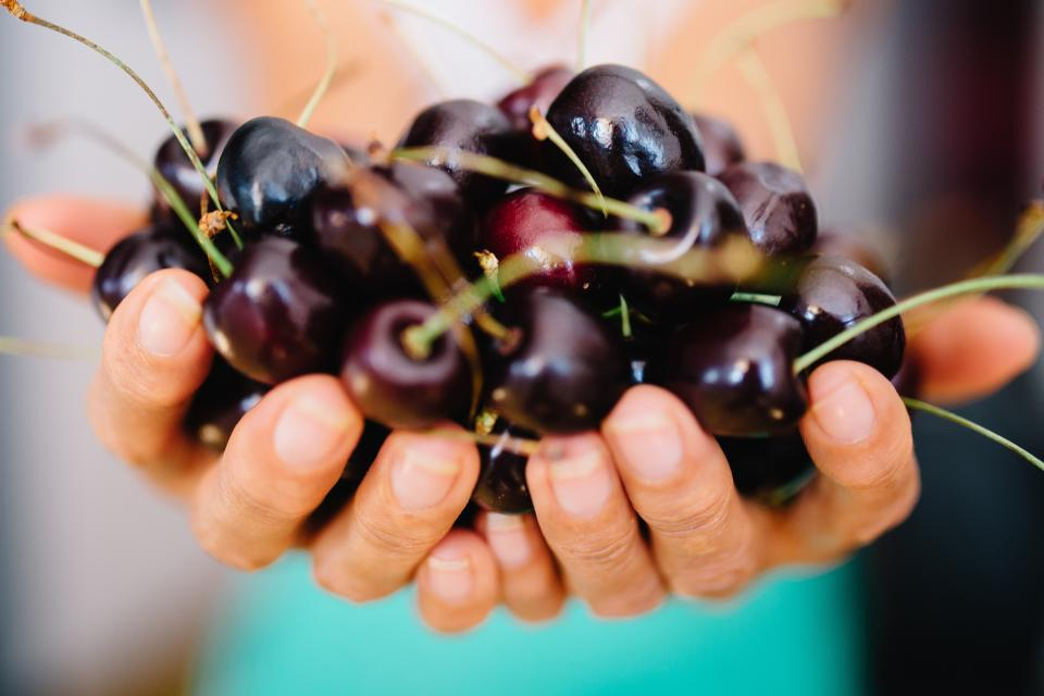 cherry cherries fruits hands food healthy
