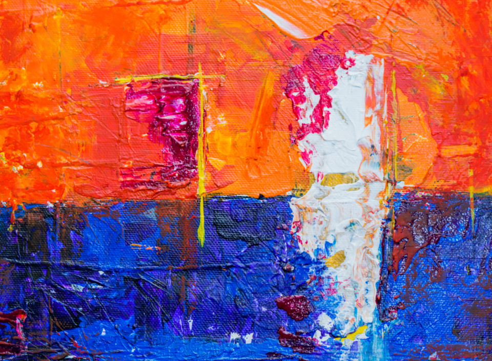 colorful abstract painting art creative design artist canvas acrylic multicolor close up messy red orange blue vibrant oil paint white