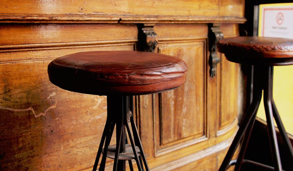 wood brown old bar stool chair