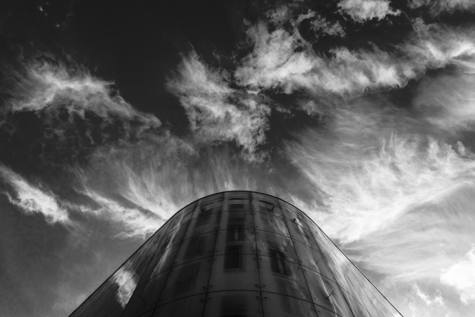 sky cloud nature building dark reflection black and white