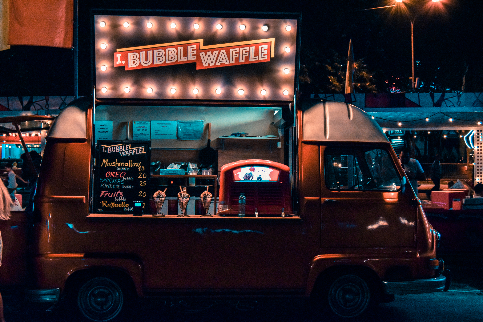 carnival carousel street food waffle food van truck food truck open lights neon camper transport travel