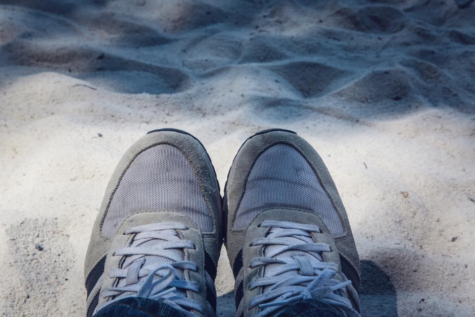 shoe footwear travel sand outdoor summer sunny day