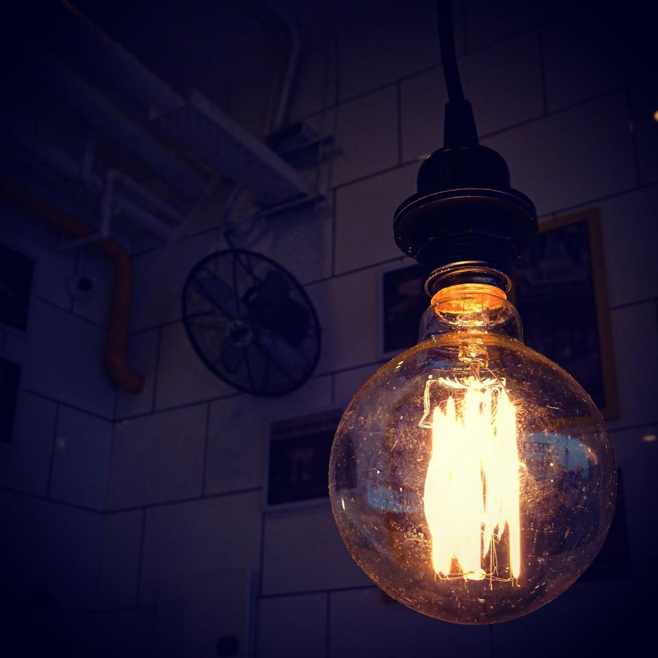 light bulb spark dark night glass ceiling roof
