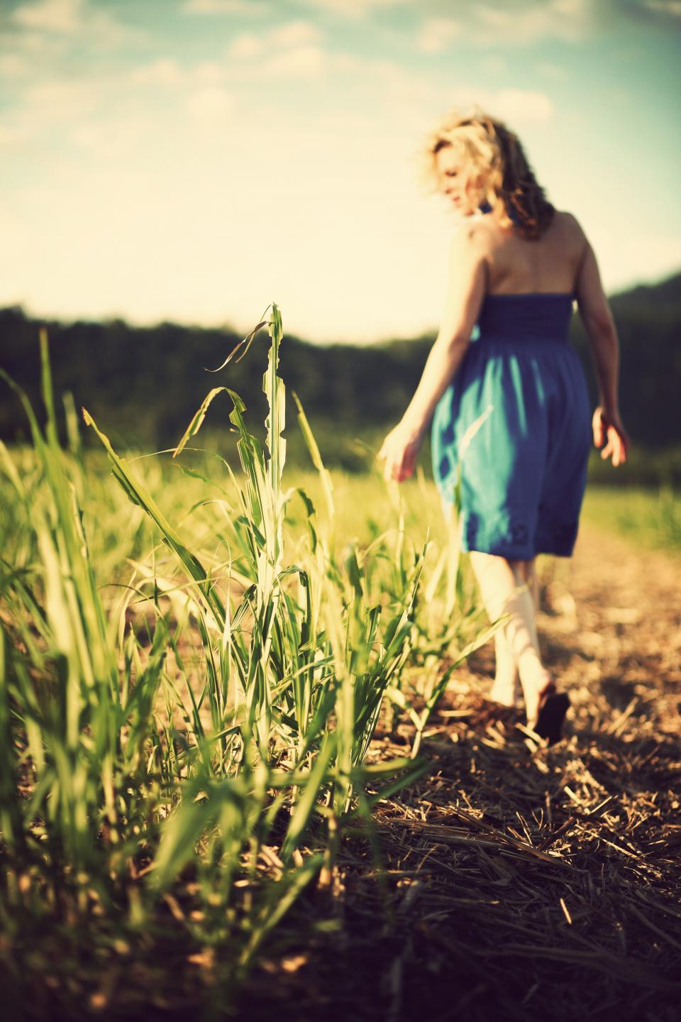 girl woman field grass nature sunshine sunny summer dress fashion people