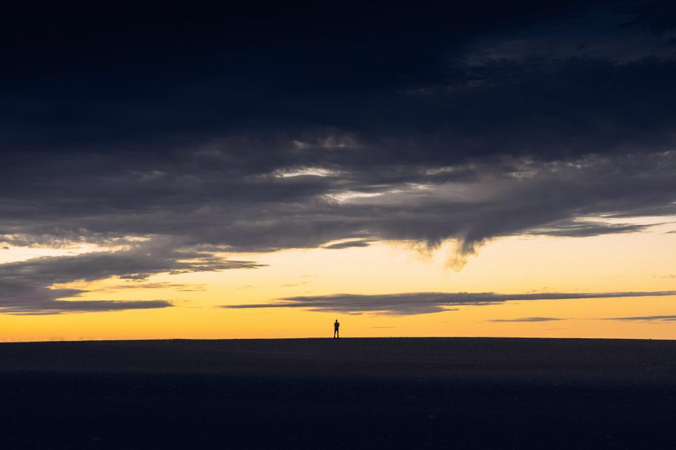 horizon dark clouds sky nature view people alone silhouette