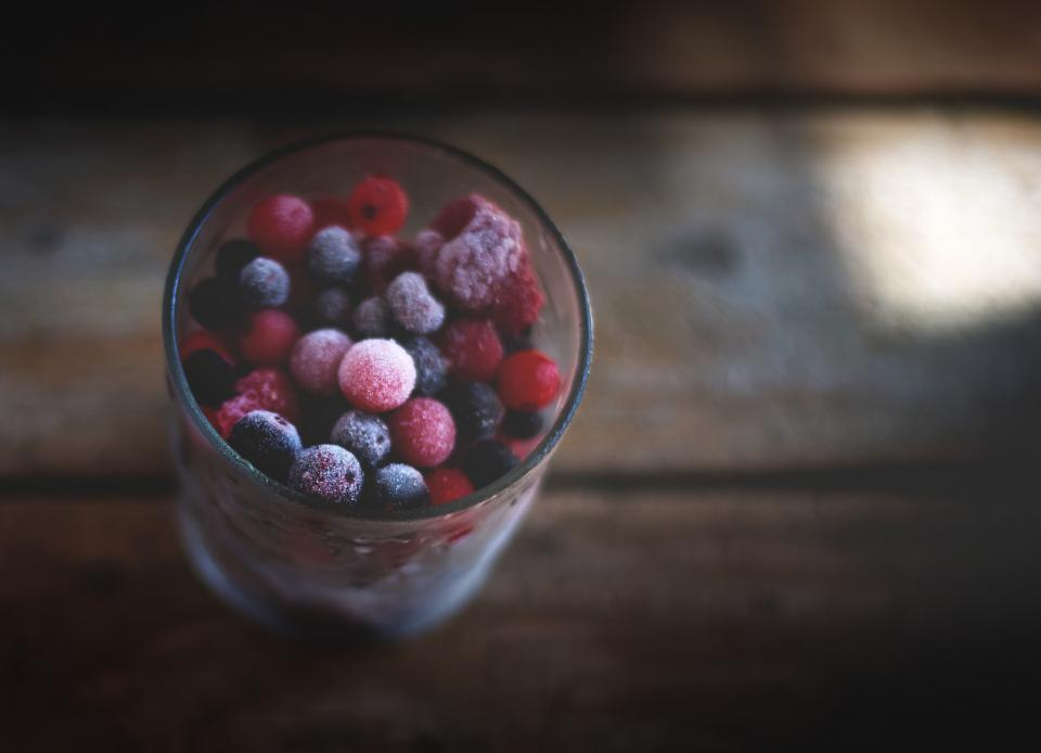 blueberries raspberries berries fruits glass food healthy