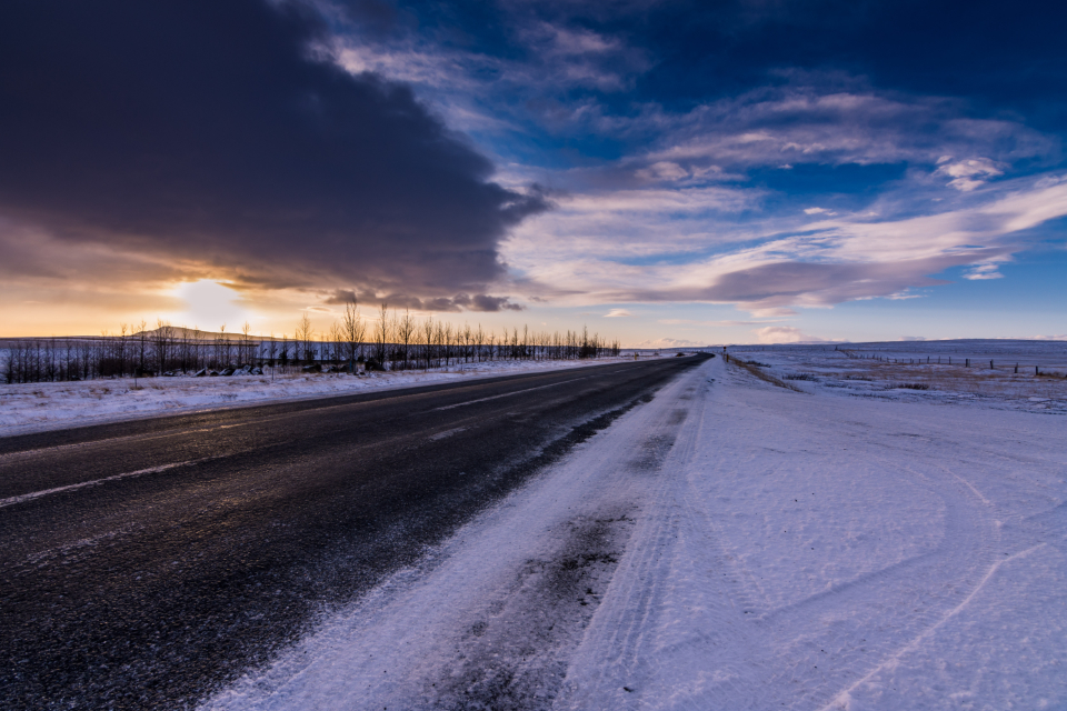 cold winter road snow ice slippery iceland travel sunset sky clouds landscape rural tundra frozen asphalt nature outdoors outside