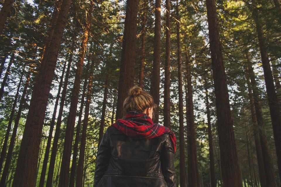 girl leather jacket scarf woods forest trees nature people brunette