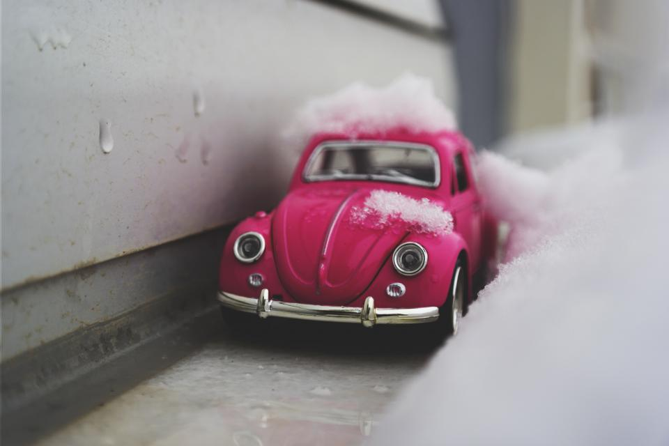 pink car vehicle toy snow winter